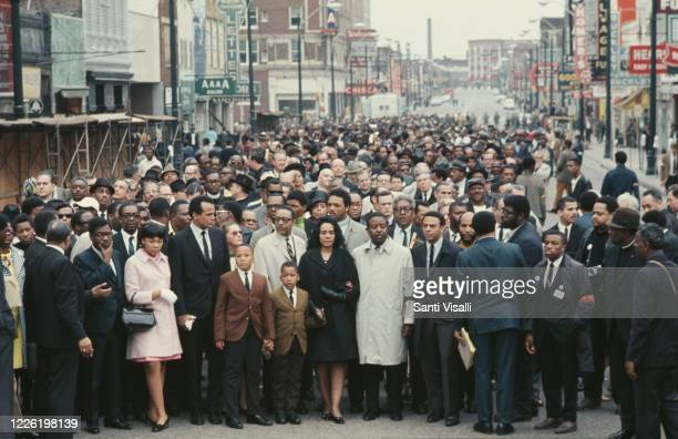 Crowds in Memphis Tennessee following the assassination of civil rights leader Martin Luther King Jr in the city 8th April 1968 In the centre from...