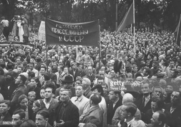 Crowds in Riga the capital of Latvia hailing the incorporation of the country into the Soviet Union
