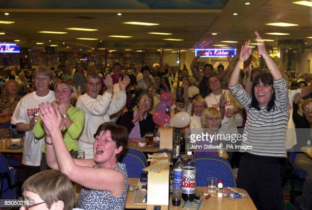 Crowds in the London Palace Bingo Club at Elephant and Castle go wild as Phil Groom from the Mecca Bingo Club in Bilston West Midlands was declared...