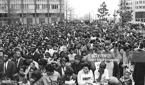 Crowds in the tens of thousands gather to honor the Reverend Dr Martin Luther King Jr during his funeral Memphis TN 1968