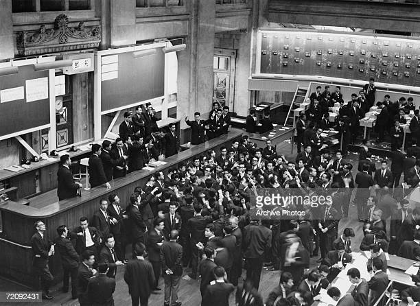 Crowds in Tokyo Stock Exchange circa 1960