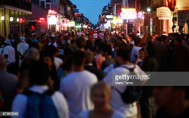Crowds line Bourbon Street in the French Quarter on a Friday night May 15, 2009 in New Orleans, Louisiana. Tourism is the number one industry in New...