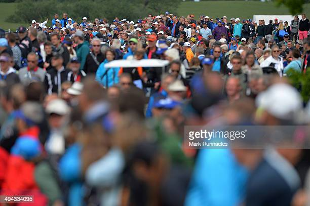 Crowds line the 9th fairway during the Nordea Masters at the PGA Sweden National on May 29 2014 in Malmo Sweden