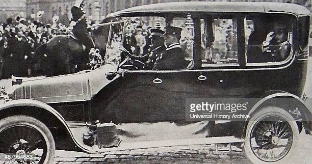 Crowds line the streets for the funeral of Austrian archduke Franz Ferdinand after his assassination in 1914 The Austrian Crown prince Charles rides...