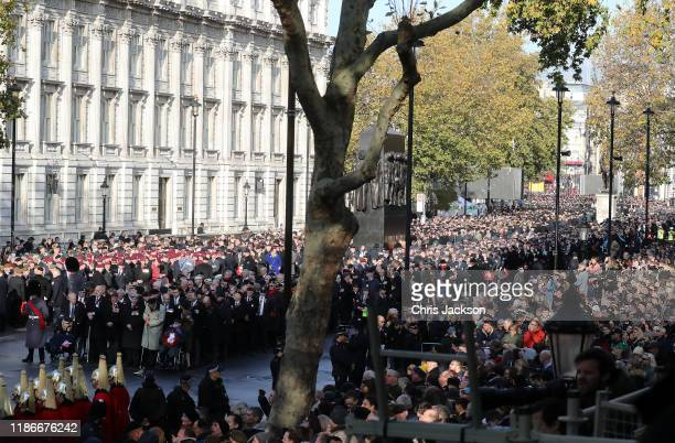 Crowds line the streets of Whitehall at the annual Remembrance Sunday memorial at The Cenotaph on November 10, 2019 in London, England. The armistice...