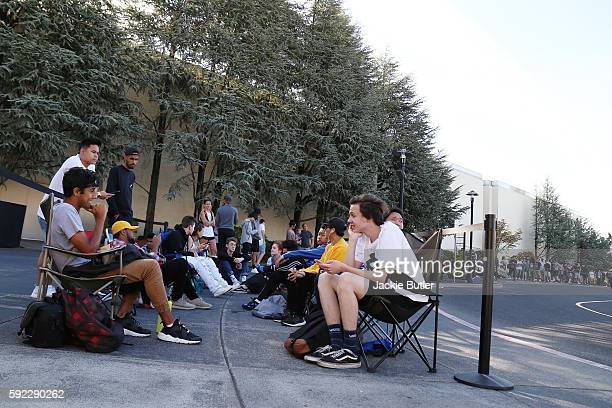 Crowds line up outside a Kanye West temporary PABLO store at Clackamas Town Center on August 19 2016 in Happy Valley Oregon