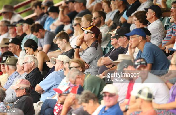 Crowds look on during day three of the Sheffield Shield final match between Queensland and Tasmania at Allan Border Field on March 25 2018 in...