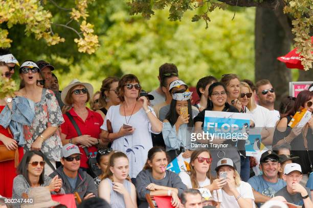 Crowds look on during the Birdman Rally on March 11 2018 in Melbourne Australia The annual charity event sees entrants in home made costumes and...