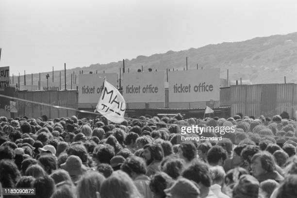 Crowds near the ticket office at the Isle of Wight Festival Afton Down UK 26th31st August 1970