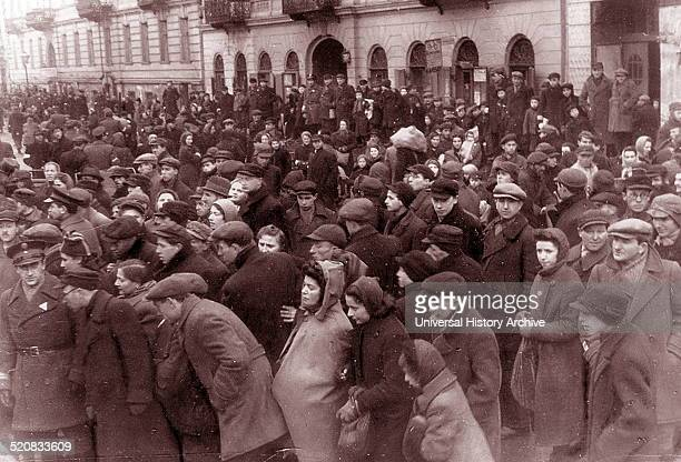 Crowds of Jews in the Warsaw ghetto, Poland, 1942.
