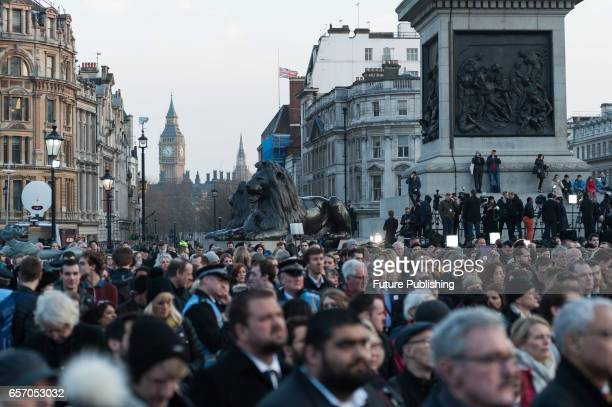 Crowds of Londoners attend a vigil in Trafalgar Square in solidarity with victims of the Westminster terrorist attack on March 23 2017 in London...