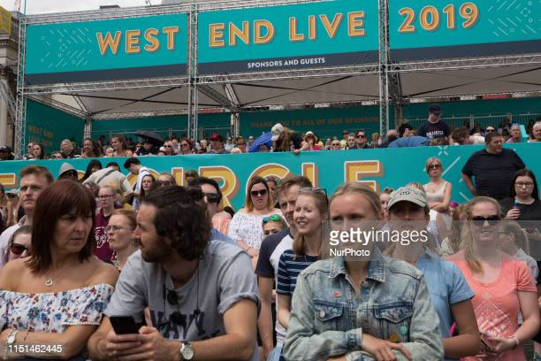 Crowds of Londoners enjoy concerts during West End Life 2019 a festival of West End musicals in Trafalgar Square in London England on 22 June 2019
