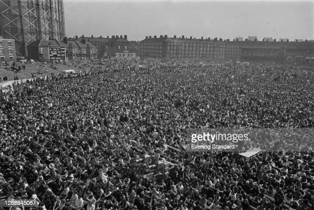 Crowds of music fans at the Rock At The Oval rock concert in the Oval cricket ground, London, UK, 18th September 1971.