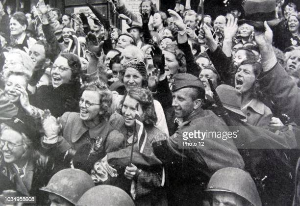 Crowds of Norwegians gather in Oslo to celebrate the liberation of Norway after World War Two