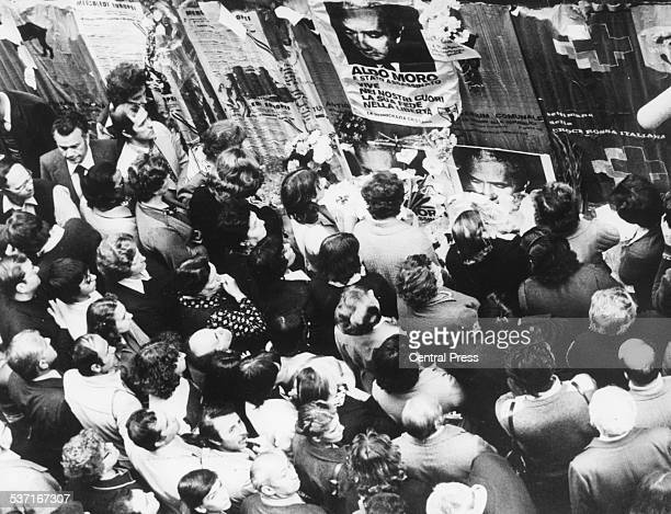 Crowds of people gather to mourn the death of Italian Christian Democratic politician Aldo Moro on the anniversary of his murder by the Red Brigade...