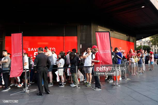Crowds of people line up outside of the David Jones Elizabeth St store during the Boxing Day sales on December 26 2018 in Sydney Australia Boxing Day...