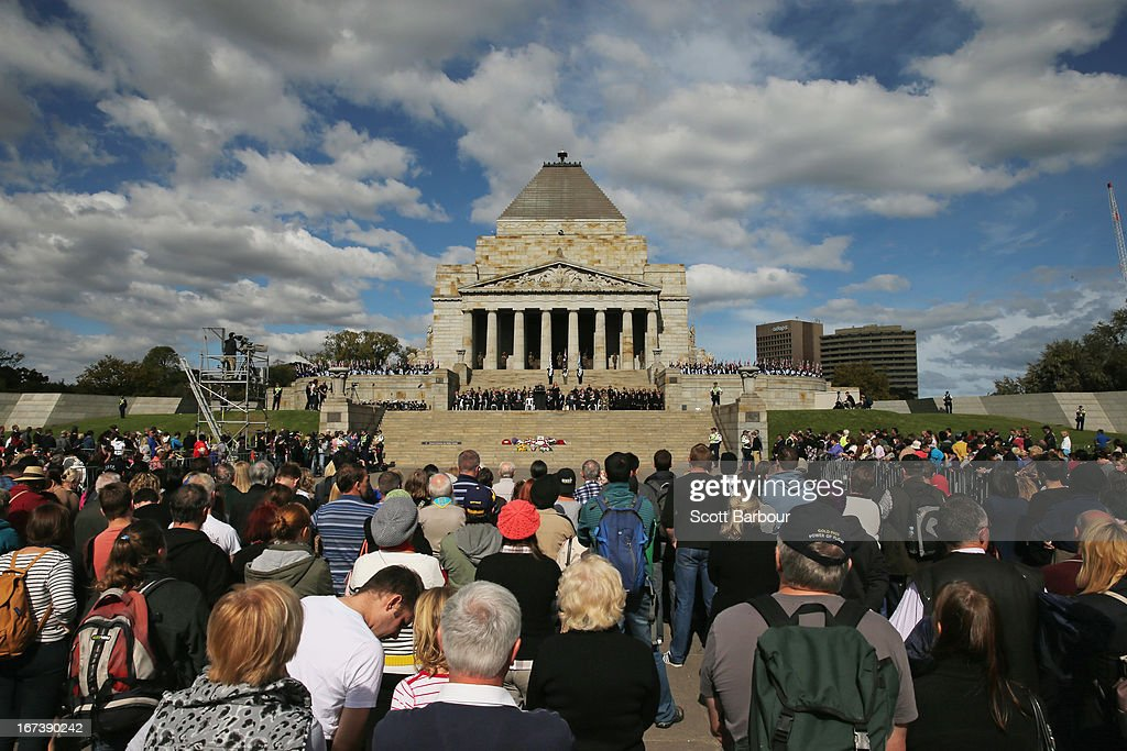 Crowds of people look on after the annual Anzac Day march at the Shrine of Remembrance on April 25, 2013 in Melbourne, Australia. Veterans, dignitaries and members of the public today marked the 98th anniversary of ANZAC (Australia New Zealand Army Corps) Day, April 25, 1915 when allied Australian and New Zealand First World War forces landed on the Gallipoli Peninsula. Commemoration events are held across both countries in remembrance of those who fought and died in all wars.