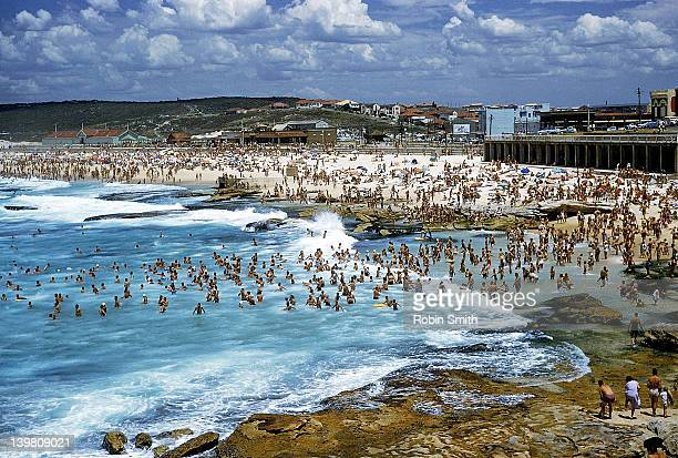 Crowds of people on Maroubra Beach, Sydney, New South Wales, 1963