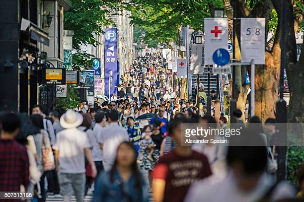 Crowds of people on the streets of Tokyo, Japan