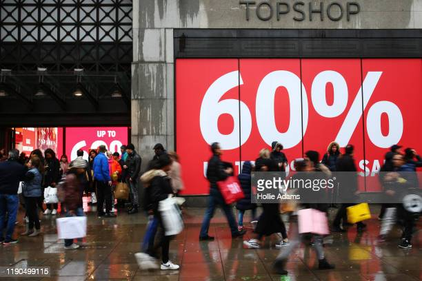 Crowds of people shop during the Oxford Street Boxing Day Sales on December 26 2019 in London England
