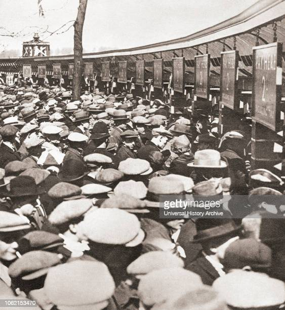 Crowds of people trying to get into Wembley Stadium for the first ever FA Cup Final in 1923 between Bolton Wanderers and West Ham United A crowd of...