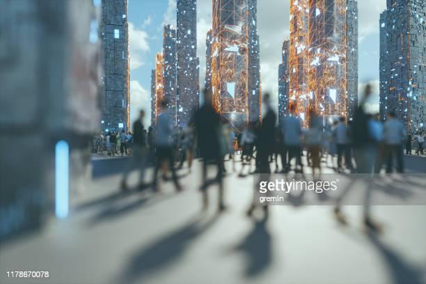 menigten van mensen lopen op futuristische straat - licht natuurlijk fenomeen stockfoto's en -beelden
