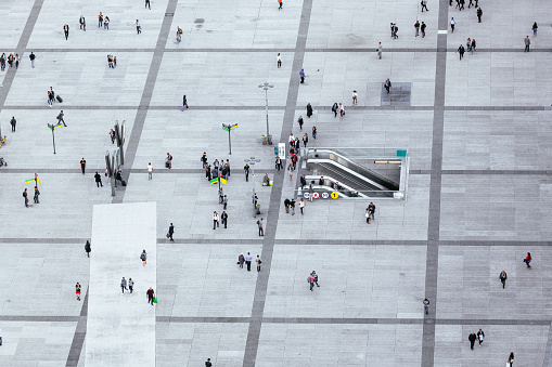 Crowds of people walking on the city square in La Defense - business financial district, Paris, France - gettyimageskorea
