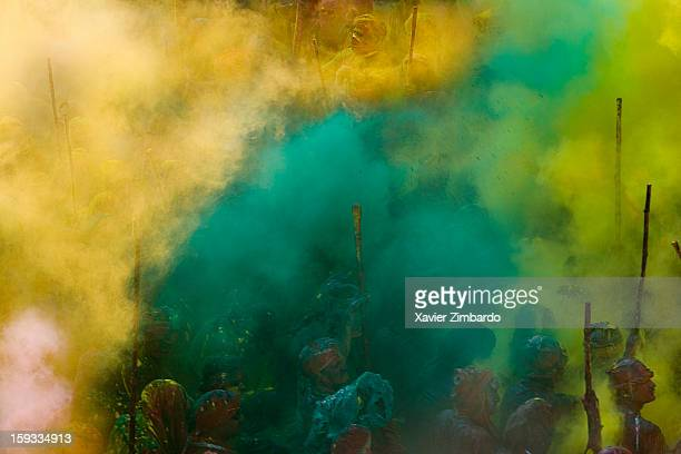 Crowds of pilgrims playing Holi on February 26 at the main temple of Nandgaon India