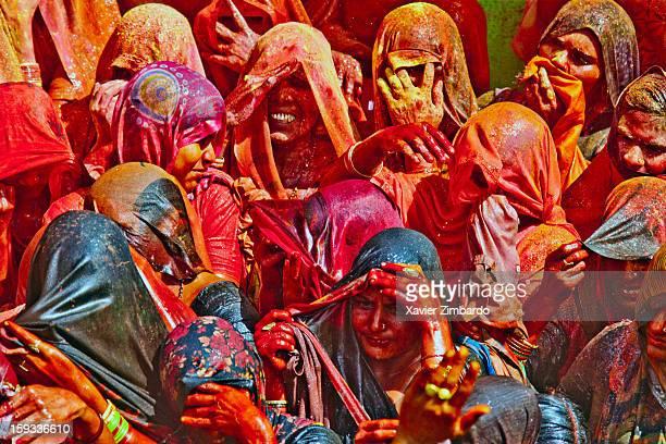 Crowds of pilgrims playing Huranga Holi on March 12 at Dauji Ka Mandir Baldev India