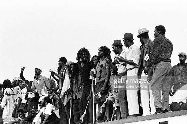 Crowds of Rastafarians await the arrival of Haile Selassie I Emperor of Ethiopia at Palisadoes Airport on April 21 1966 in Kingston Jamaica