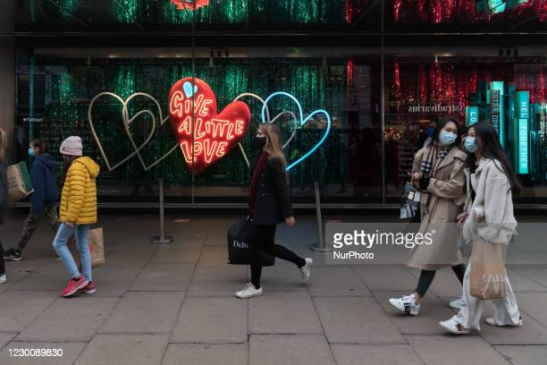 Crowds of shoppers are seen on Oxford Street, on 12 December, 2020 in London, England. London is at risk of moving into Tier 3 Coronavirus...