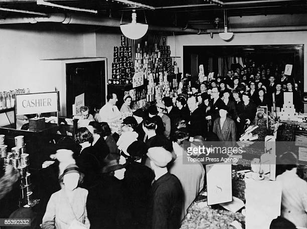 Crowds of shoppers at Selfridges department store on Oxford Street London 7th December 1939