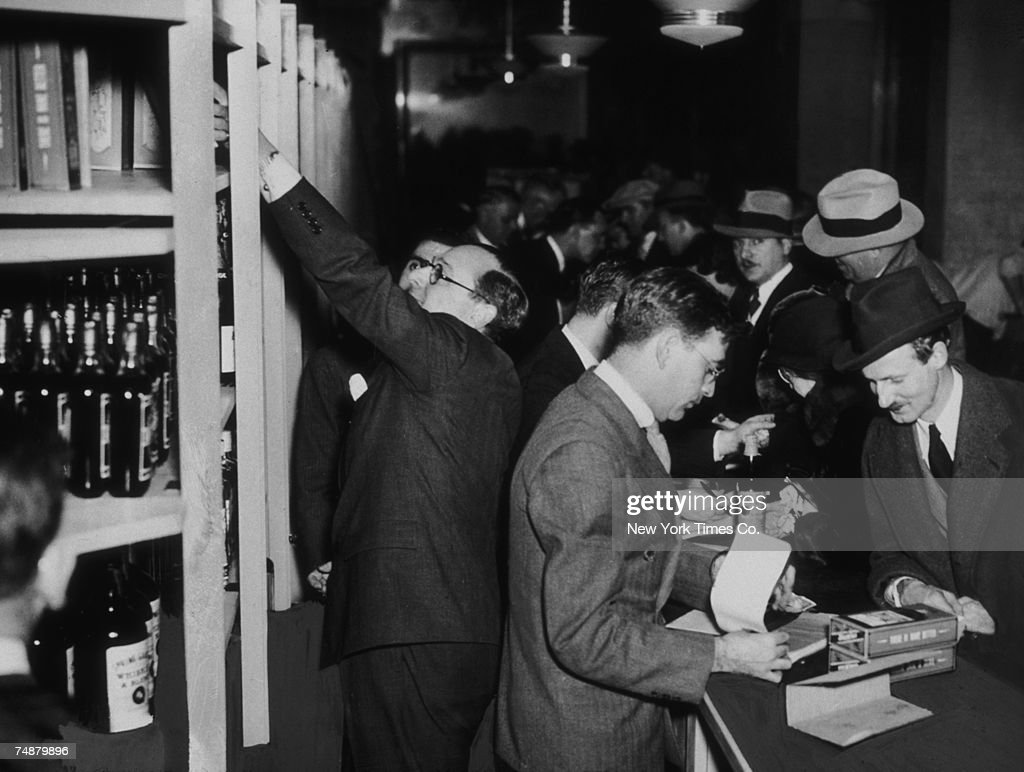 Crowds of shoppers buying liquor legally at Bloomingdale's in New York, hours after after the passing of the 21st Amendment to end prohibition, 5th December 1933.