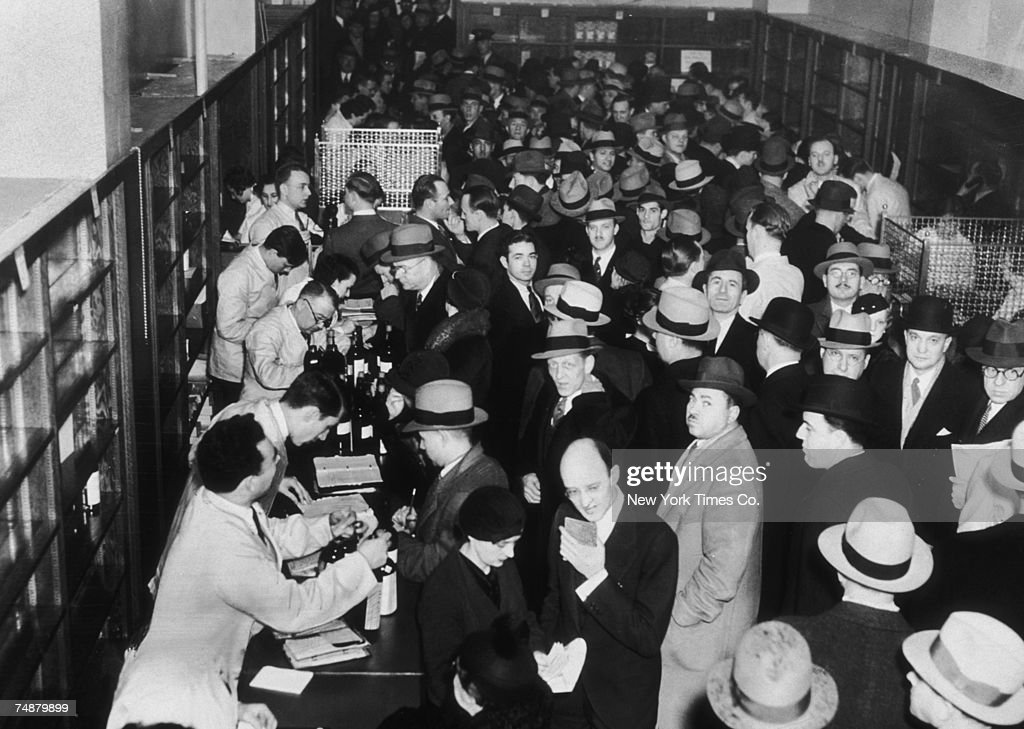 Crowds of shoppers buying liquor legally at Macy's in New York after after the recent passing of the 21st Amendment to end prohibition, 16th December 1933.