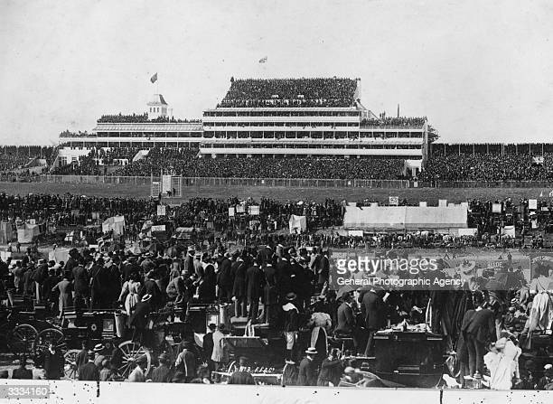 Crowds of spectators waiting for the Derby at Epsom race course.