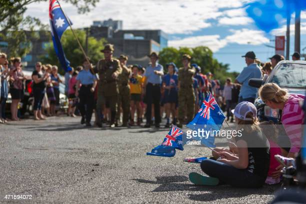 Crowds of Spectators Watch the March on ANZAC Day