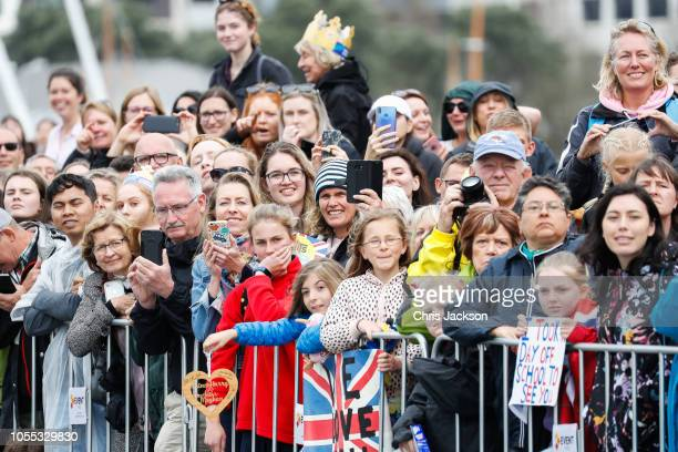 crowds of supporters during official 'Walkabout' where Prince Harry Duke of Sussex and ÊMeghan Duchess of Sussex greet fans on the street on October...