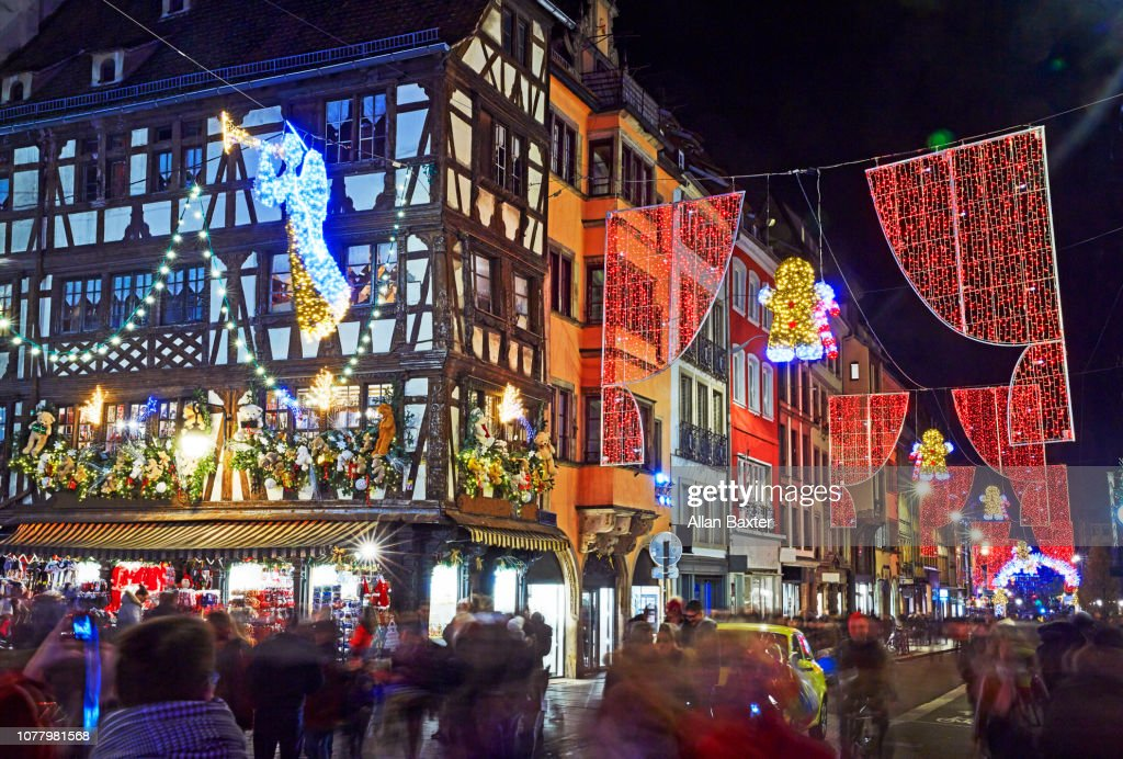 Strasbourg Christmas Market.Crowds Of Tourists In Famous Christmas Market In Strasbourg