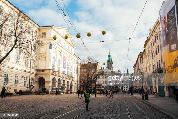 Crowds of tourists on Rynok Square in Lviv