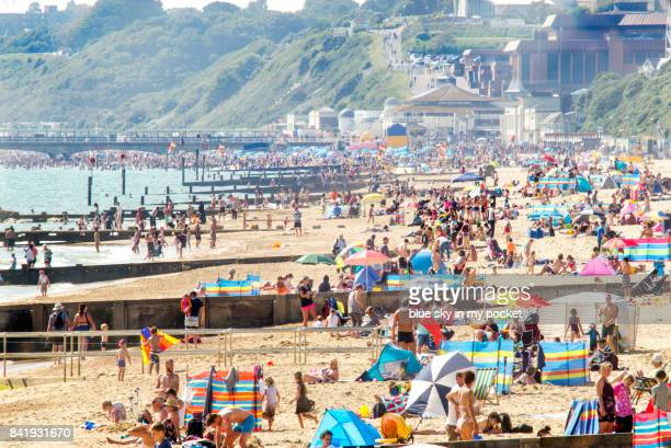 Crowds on Boscombe Beach, Dorset, UK