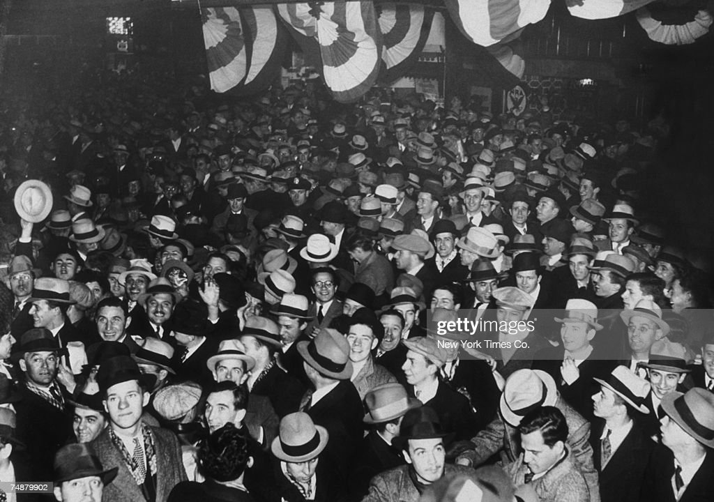 Crowds on Broadway, New York, celebrating the ratification of the 21st Amendment ending prohibition in America, 5th December 1933