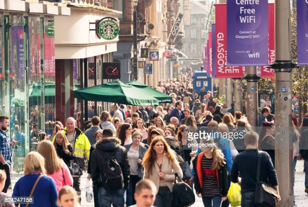 Crowds on Buchanan Street in central Glasgow, Scotland
