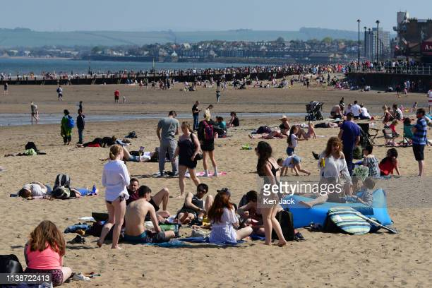 Crowds on the beach at Portobello as Edinburgh enjoys another day of sun and soaring temperatures on Easter Monday on April 18 2019 in Edinburgh...