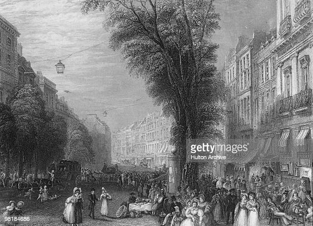 Crowds on the Boulevard des Italiens in Paris, 1837. Drawn by J. M. W. Turner, RA and engraved by T. Higham.