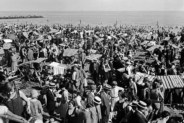 Crowds on the Coney Island beach.