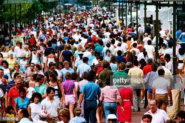 Crowds on the Pier at Harbor place in Baltimore, Maryland