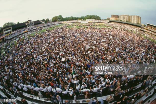 Crowds on the pitch after the final of the Prudential World Cup at Lord's Cricket Ground, London, 25th June 1983. India took the title after beating...