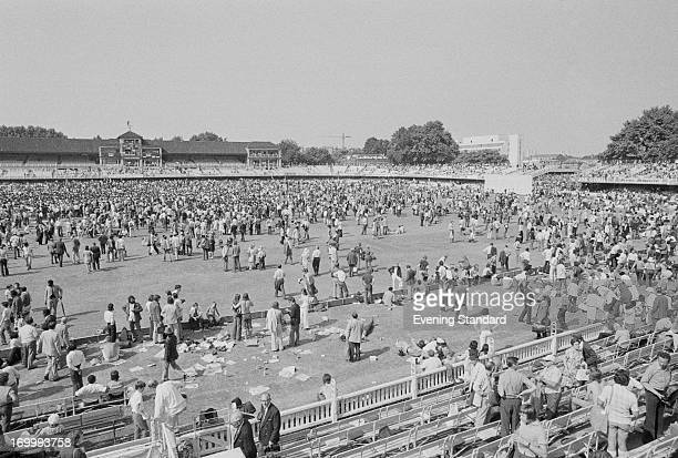 Crowds on the pitch during the 3rd Test between England and the West Indies at Lord's Cricket Ground, London, 24th August 1973. The West Indies won...