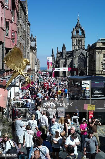 Crowds on the Royal Mile during the Edinburgh International Festival and Fringe on August 17 2016 in Edinburgh Scotland