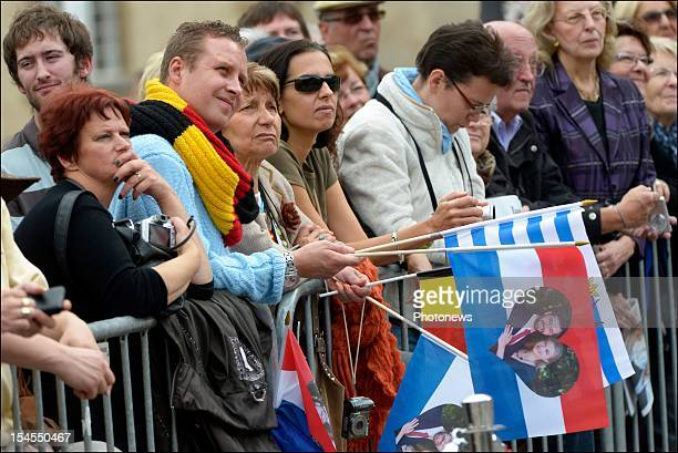 Crowds on the street during the civil wedding ceremony of Prince Guillaume Of Luxembourg and Countess Stephanie de Lannoy at the Hotel De Ville on...